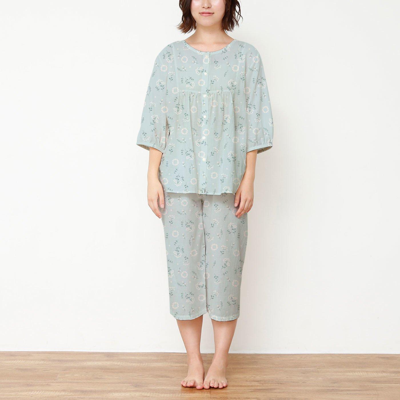 花柄で愛らしい ヨークギャザーパジャマ<七分袖>