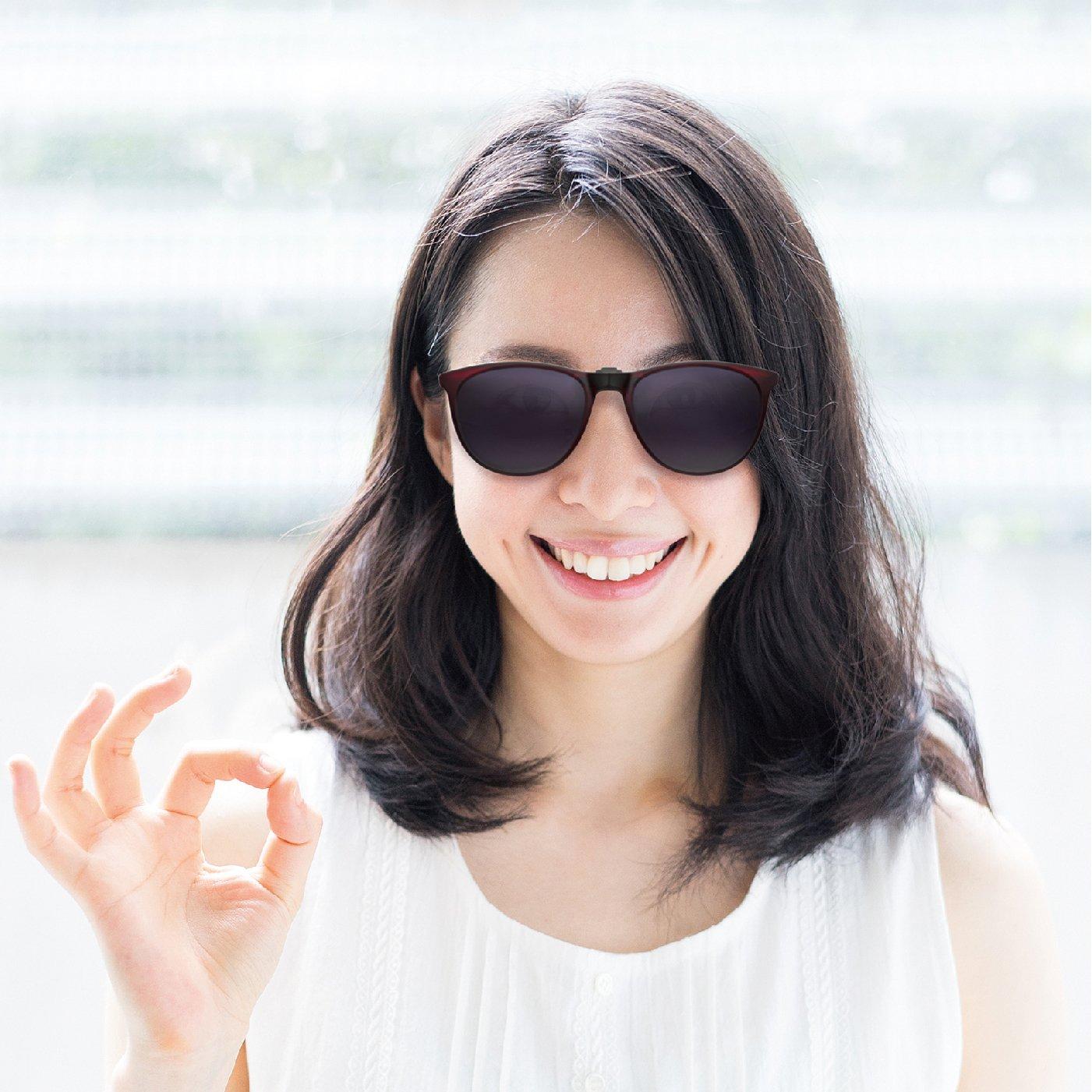 いつものメガネに簡単装着!グリーングラス 折りたたみクリップサングラス