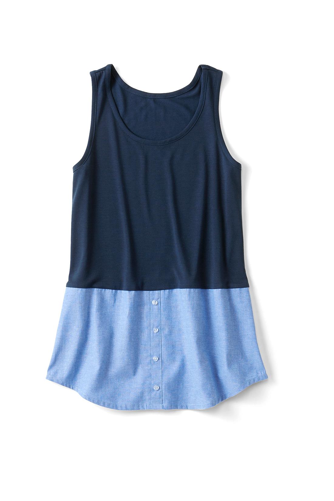 〈ブルー〉 集めたくなるバリエーション シャツ部分はストライプにチェックなど、充実したラインナップ。前立てやボタンはフェイクの飾り仕様で、すそまで縫い付けられています。