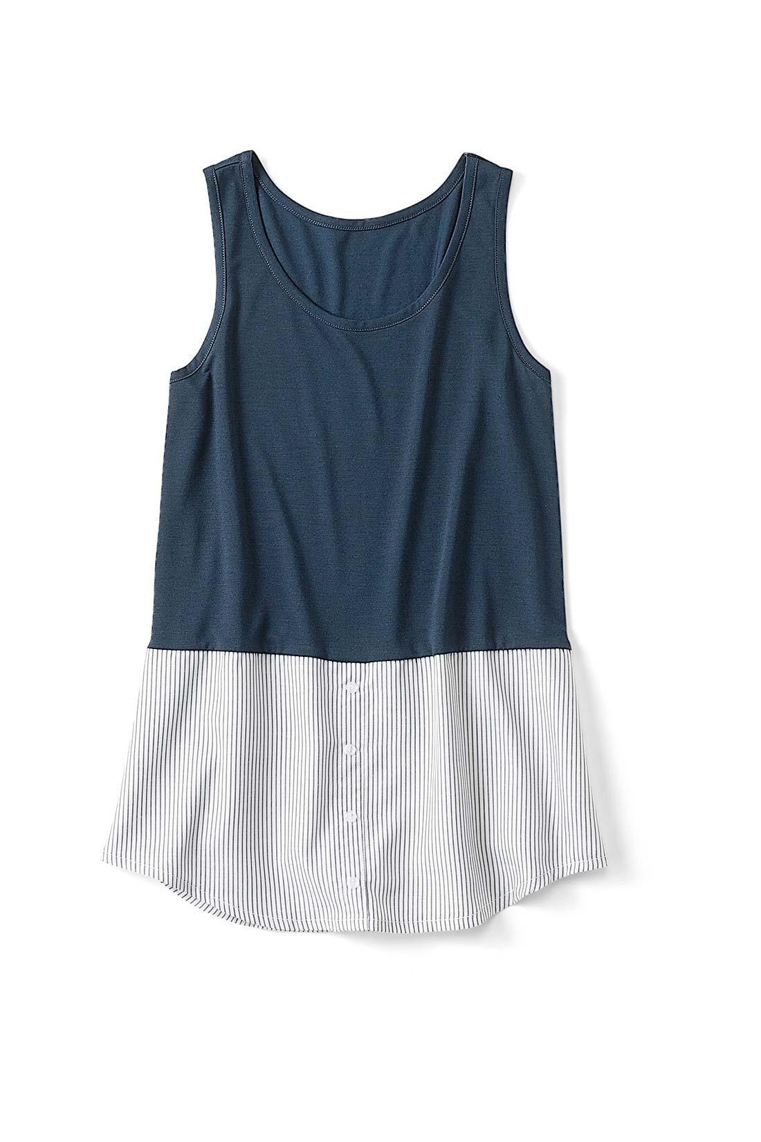 〈ストライプ〉 集めたくなるバリエーション シャツ部分はストライプにチェックなど、充実したラインナップ。前立てやボタンはフェイクの飾り仕様で、すそまで縫い付けられています。