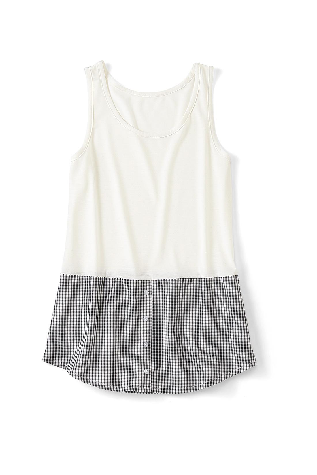 〈ギンガム〉 集めたくなるバリエーション シャツ部分はストライプにチェックなど、充実したラインナップ。前立てやボタンはフェイクの飾り仕様で、すそまで縫い付けられています。
