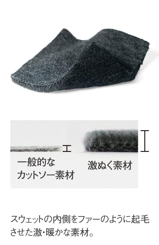 これは参考画像です。一般的なカットソー素材と激ぬくカットソー素材。