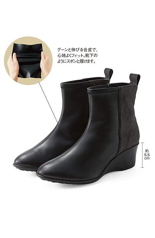グーンと伸びる合皮で、心地よくフィット。靴下のようにスポンと履けます。