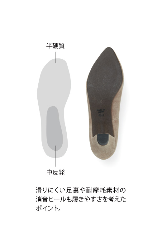 滑りにくい足裏や耐摩耗素材の消音ヒールも履きやすさを考えたポイント。