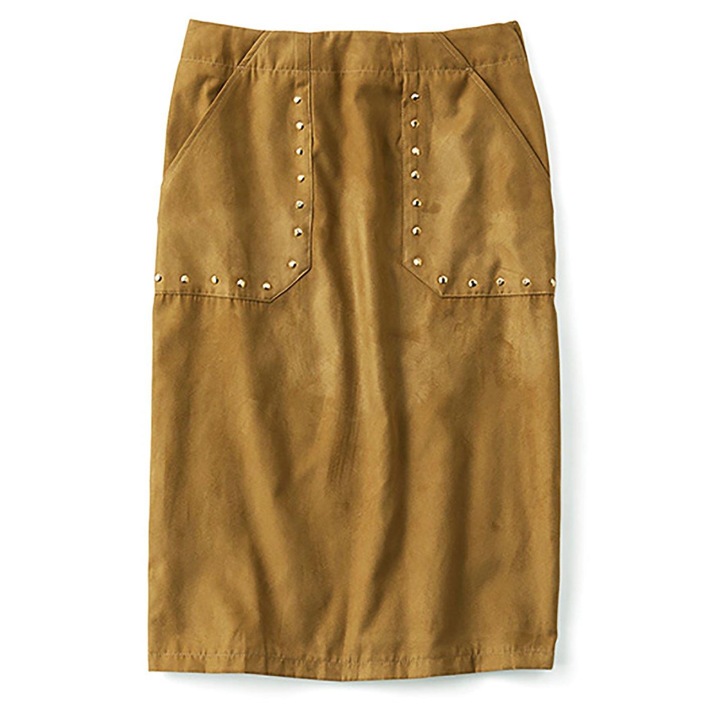 ミルブロウズ スタッズ遣いが華やぎを添えるストレッチフェイクスエードスカート〈キャメル〉