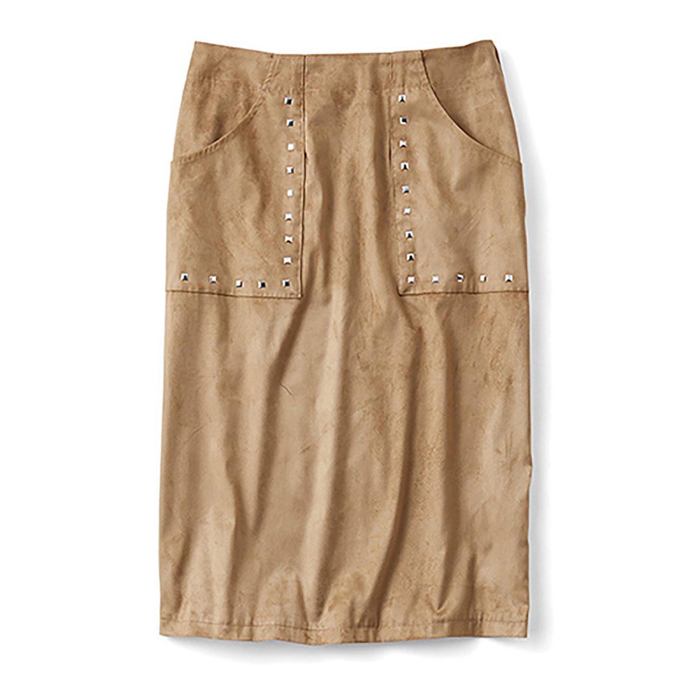 ミルブロウズ スタッズ遣いが華やぎを添えるストレッチフェイクスエードスカート〈ベージュ〉