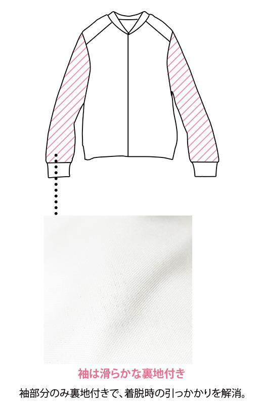袖部分のみ裏地付きで、着脱時のひっかかりを解消。