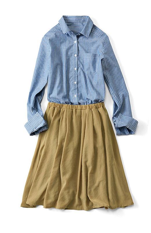 トップス部分が知的なシャツ素材に、スカート部分がしなやかな素材にアップグレード。
