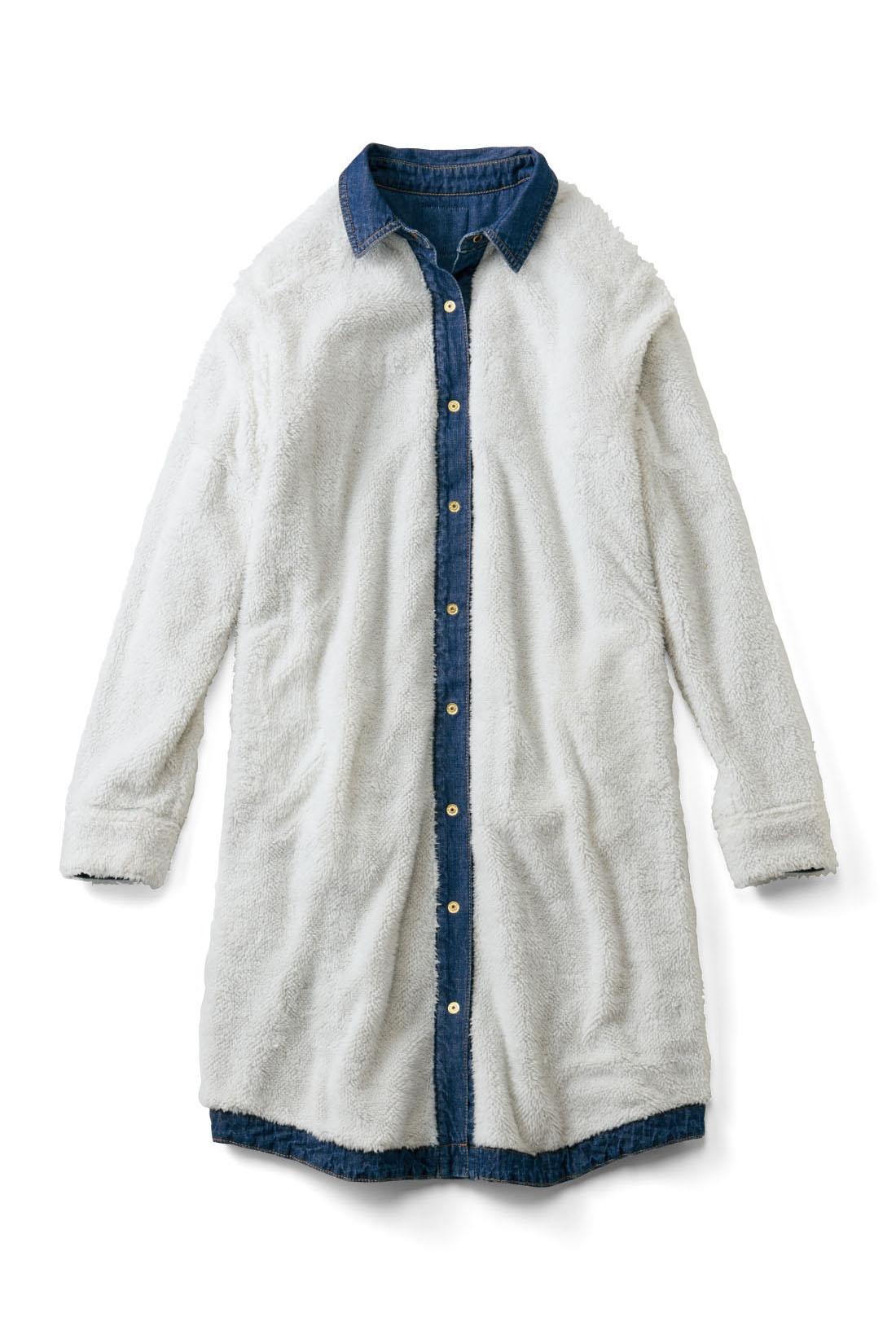 コートの下にも着るワンピだから、裏ボアは薄手のタイプを採用。着ぶくれせず、動きやすくて軽い。