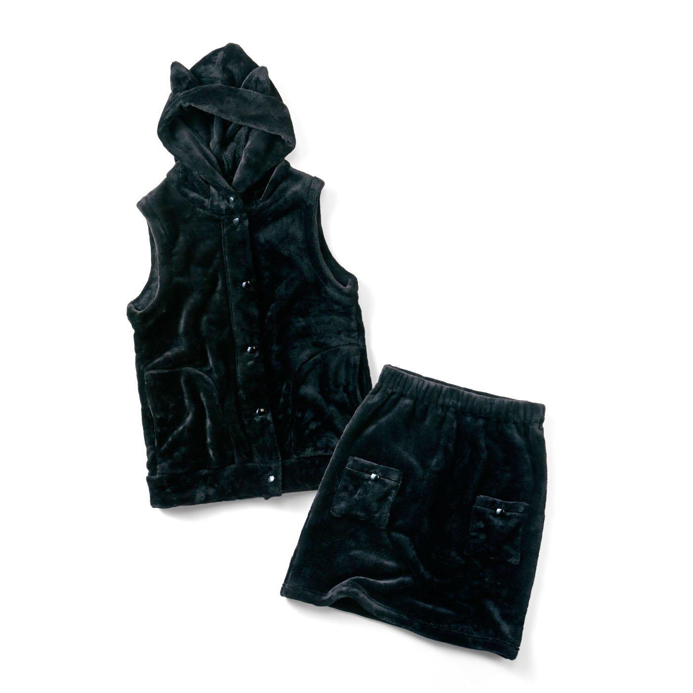 リブ イン コンフォート 猫部×リブイン 両面もふもふな肌ざわりベストとスカートの黒猫お散歩セットアップ〈ブラック〉