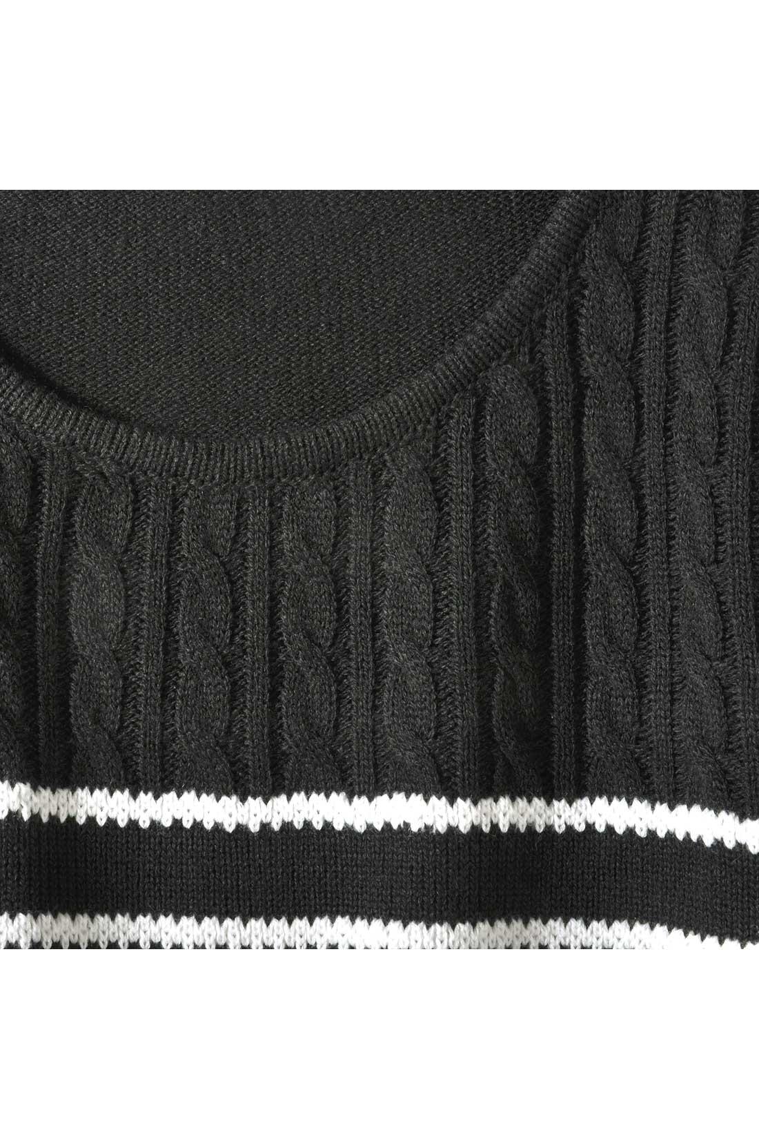 胸上はケーブル編みで大人っぽく仕上げました。