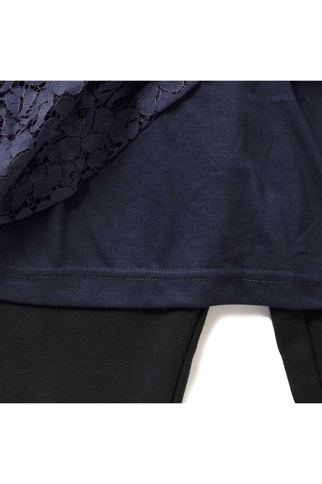 スカートは、安心のカットソーの裏地付き。