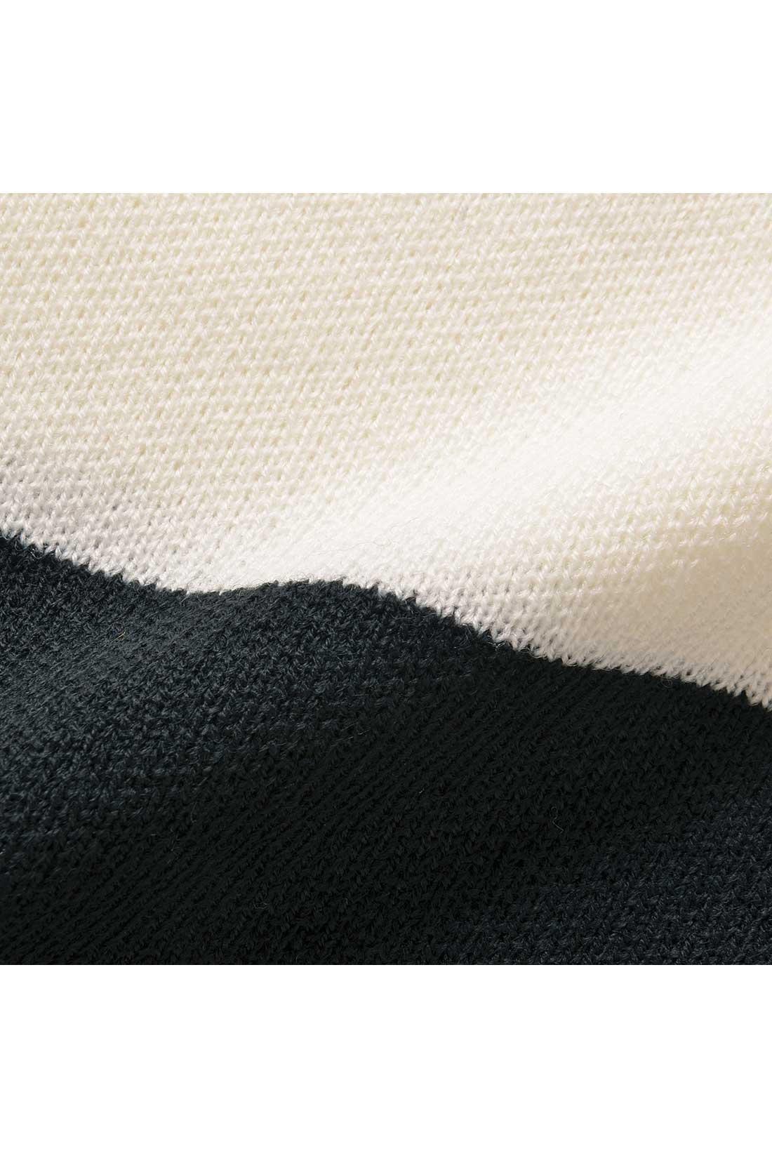 しっかり目の詰まったミラノリブは、厚みがあって暖か。きれいめな印象です。