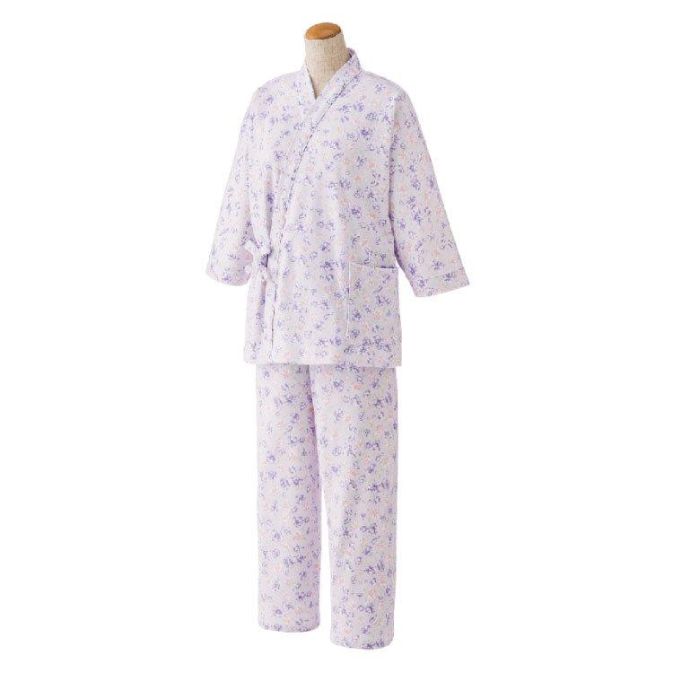 作務衣タイプでおしゃれ 着替えも便利な打ち合わせパジャマ〈レディース〉