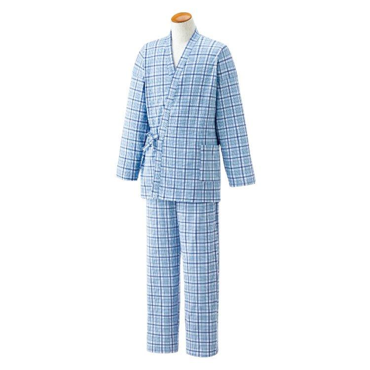 作務衣タイプでおしゃれ 着替えも便利な打ち合わせパジャマ〈メンズ〉