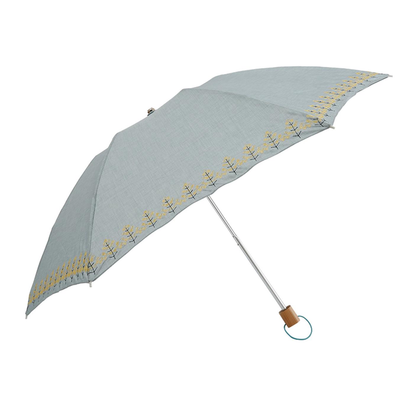 IEDIT[イディット] SELECT korko 菜の花刺しゅうの 晴雨兼用折りたたみ日傘〈グレー〉