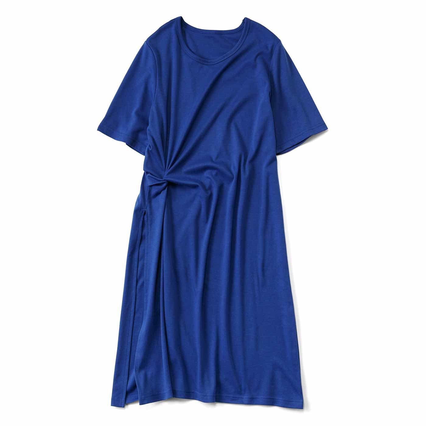 重ね着で今風 スリット入りロングTシャツ〈ブルー〉