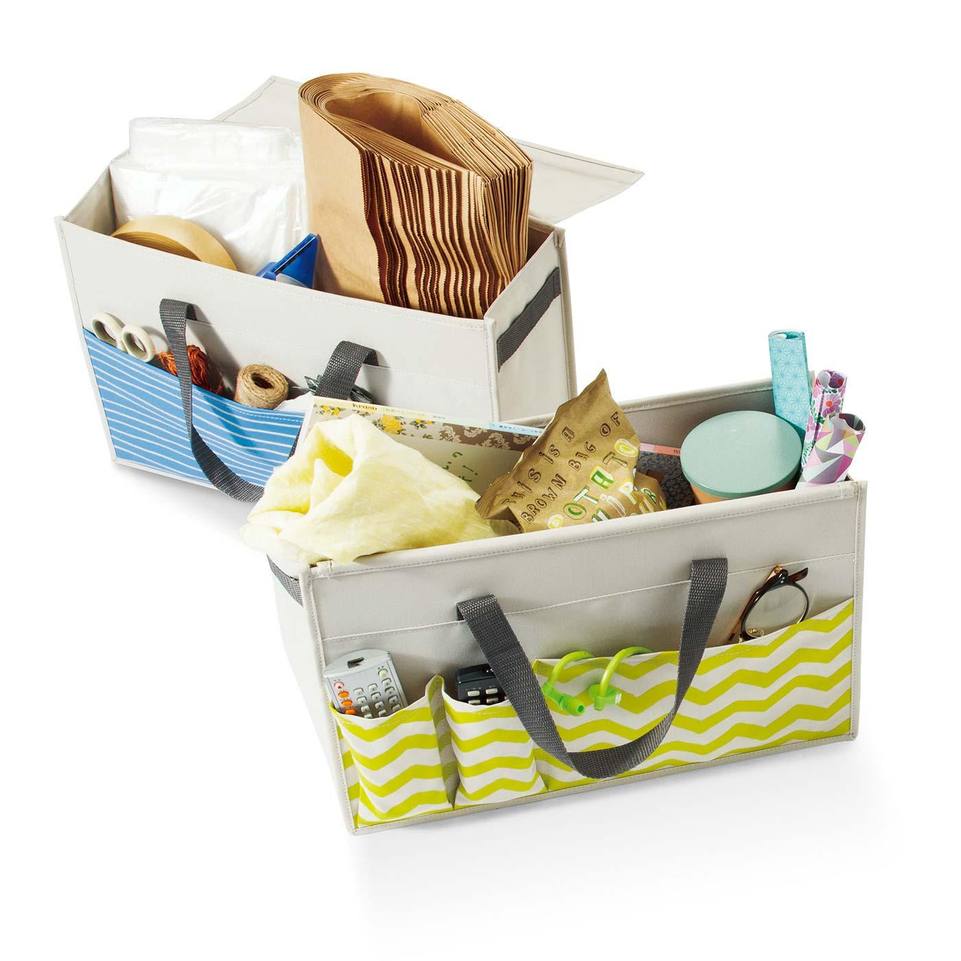 ゴミ出しセットやおやつ、忘れがちな小物などを入れて。目隠しカバー付き。