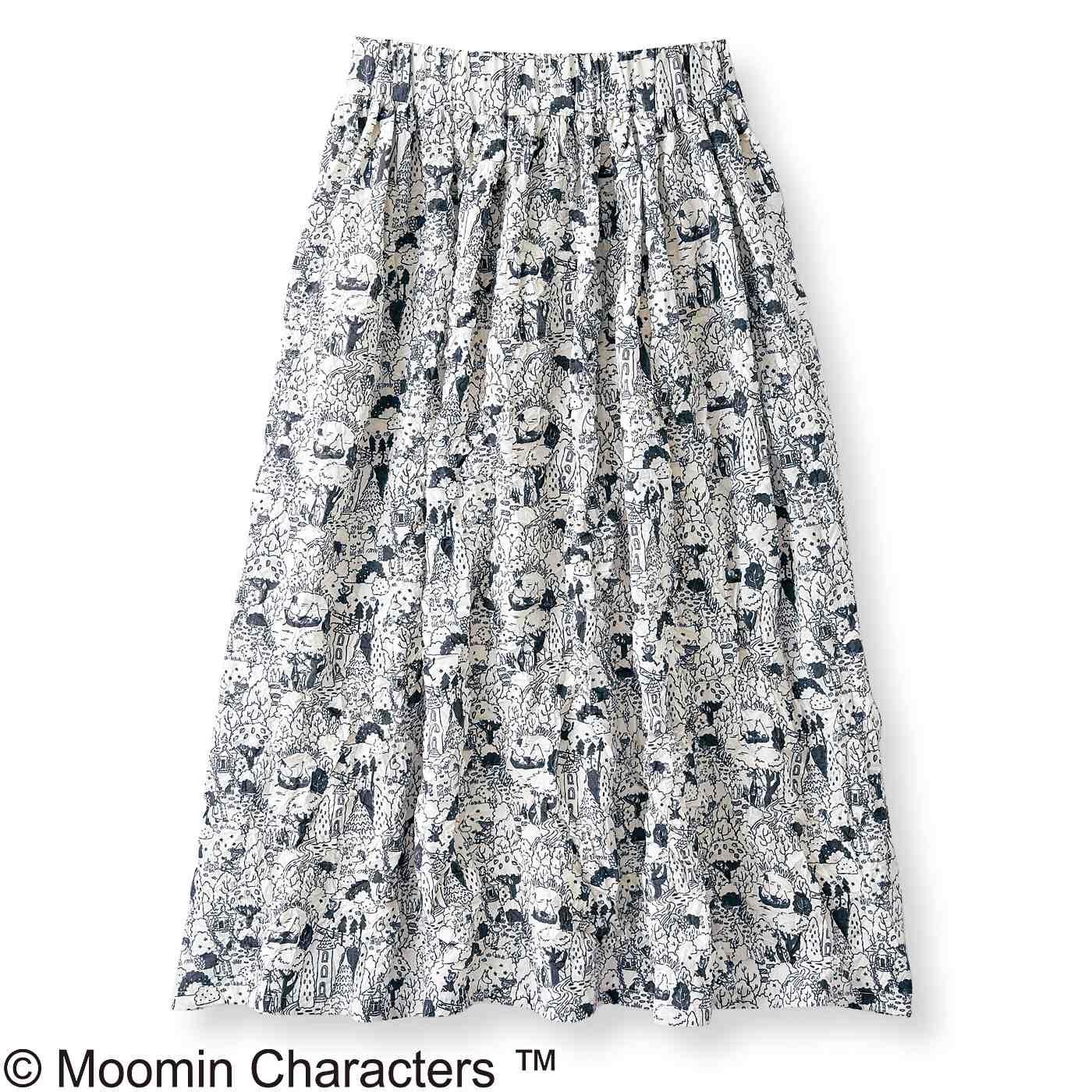 【3~10日でお届け】ムーミンと仲間たち くしゅくしゅモノクロプリントスカート