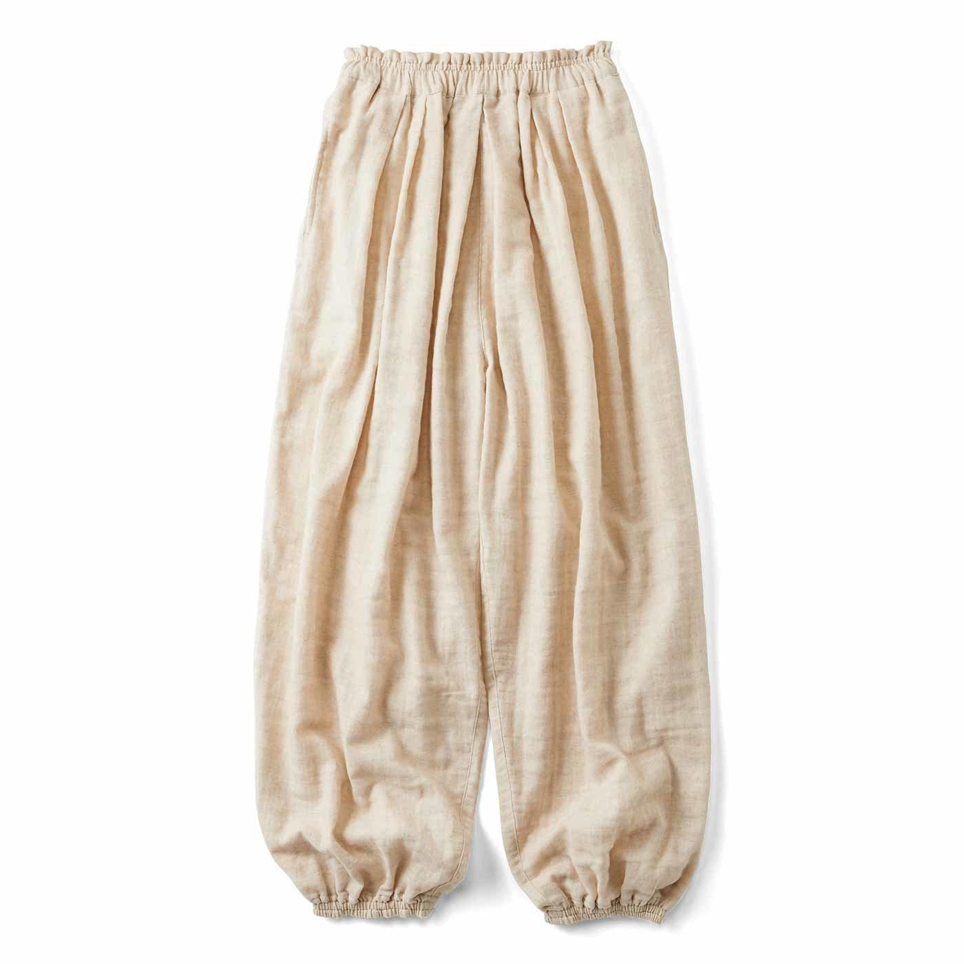 【3~10日でお届け】リブ イン コンフォート 肌に当たる裏側は綿100%! 風合いのいい麻混ダブルガーゼのぽんわりパンツ〈ベージュ〉