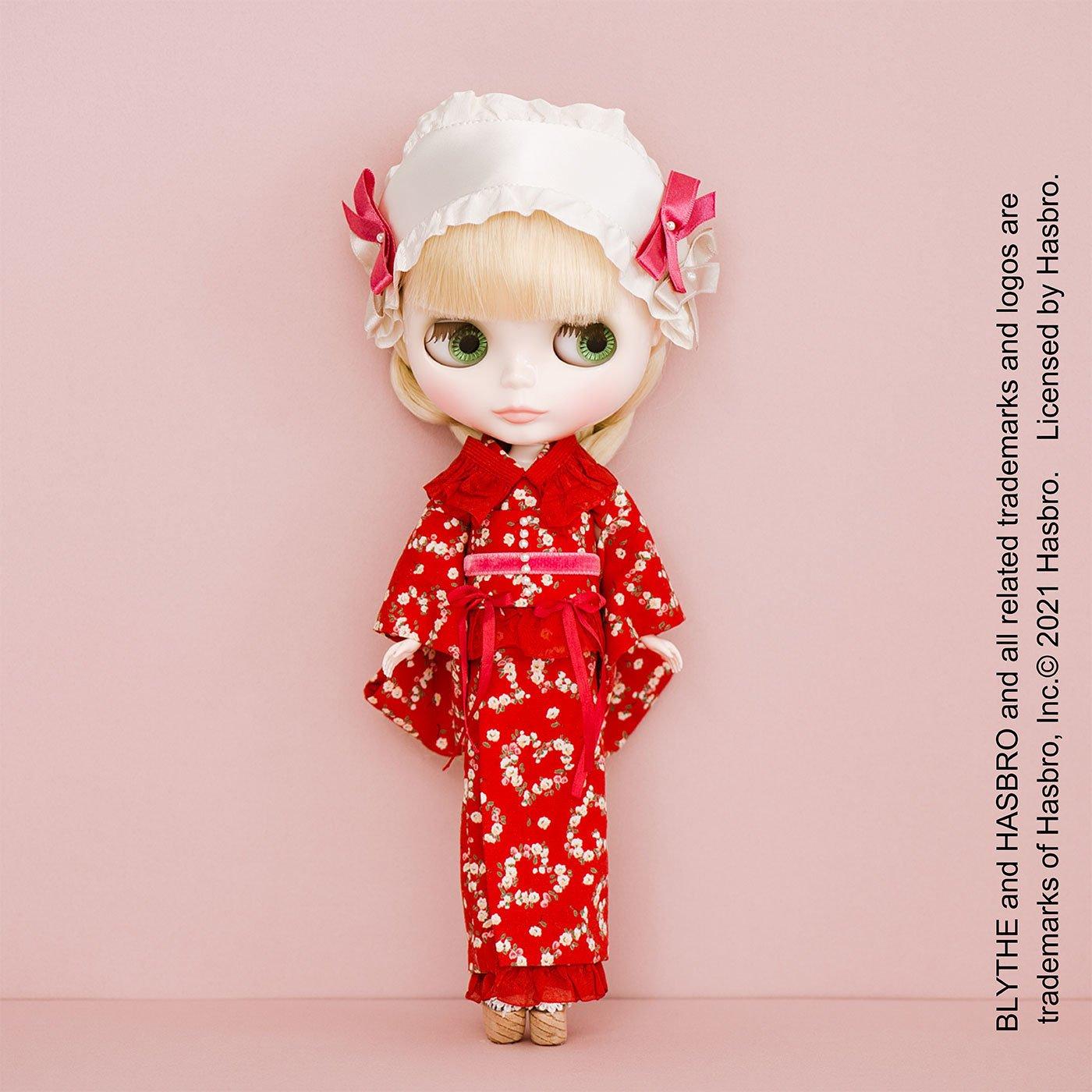 真っ赤なフリルがロマンティック chimachocoさんのドール用着物のキット