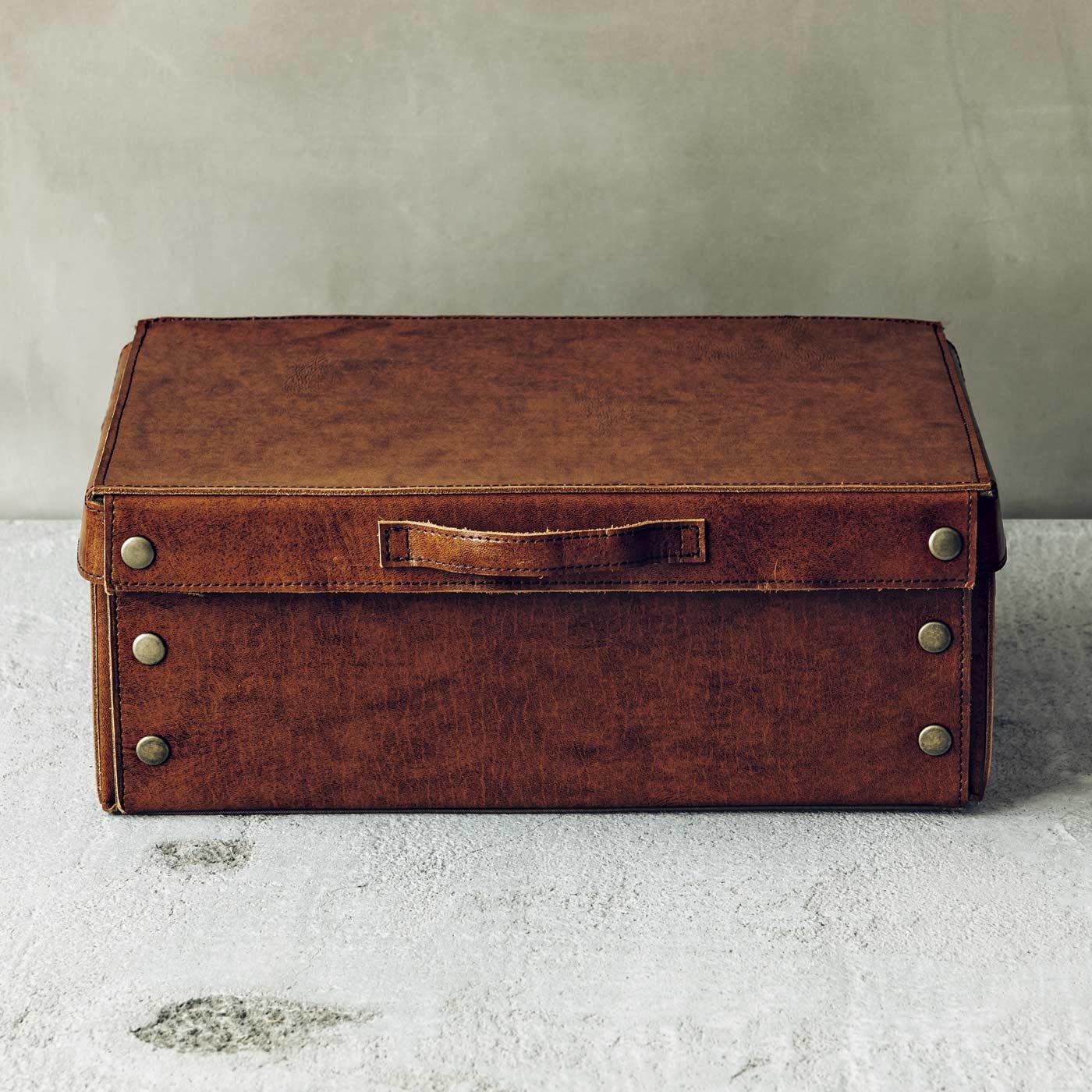 折りたたみできる本革の書類箱〈ヴィンテージブラウン〉