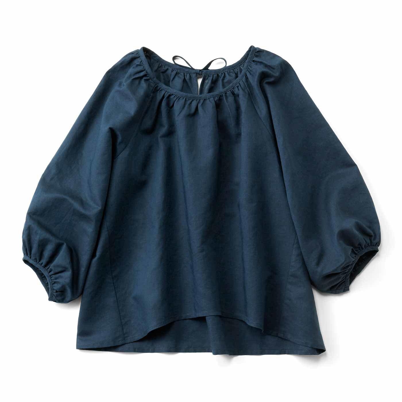 【3~10日でお届け】ぷわんと袖がかわいい 麻混プルオーバートップス〈ネイビー〉