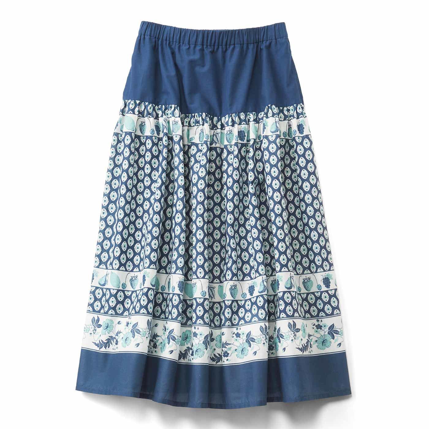 レトロかわいい フルーツ柄のパネルプリントスカート〈ブルー〉