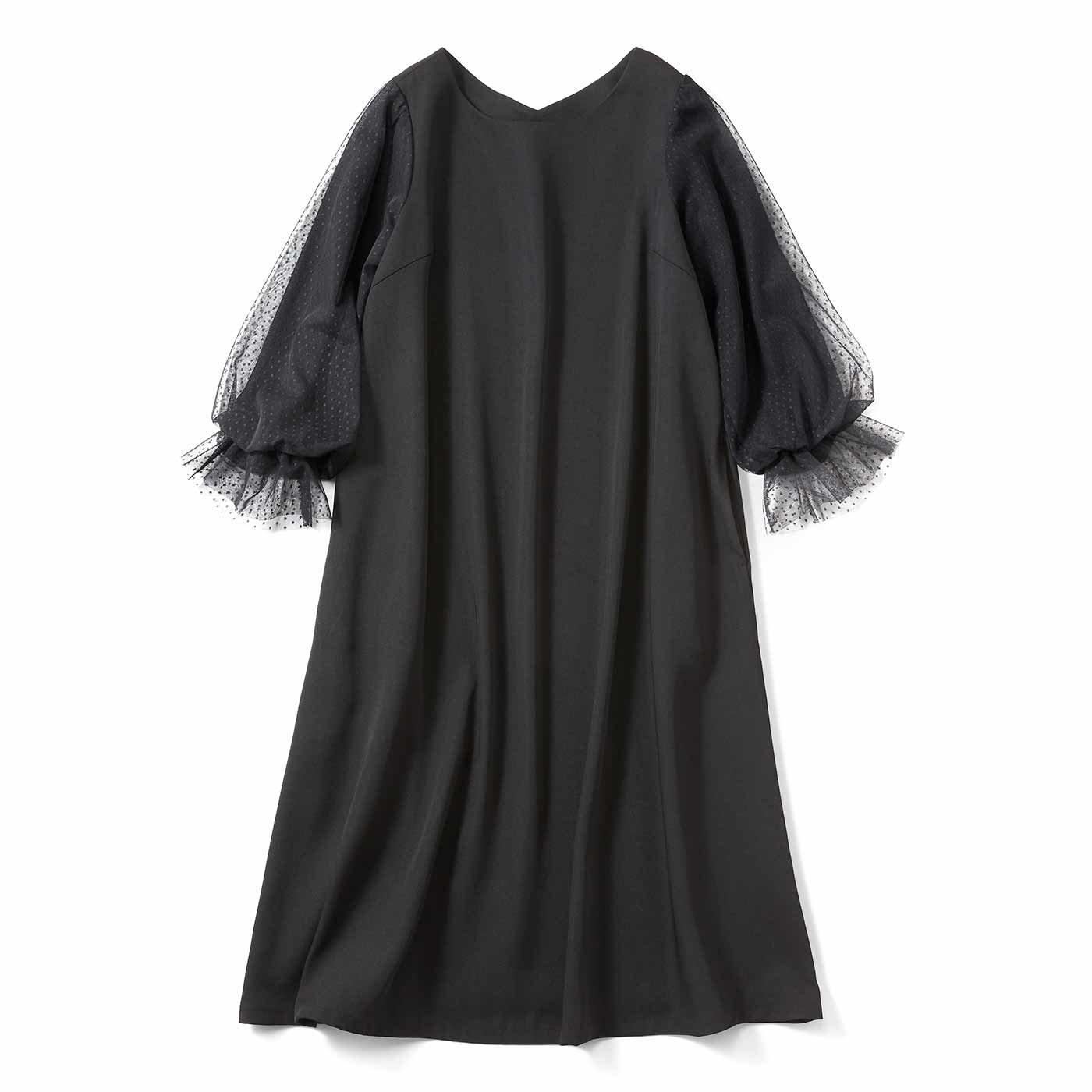 【3~10日でお届け】キュッとチュール袖 リトルブラックドレス