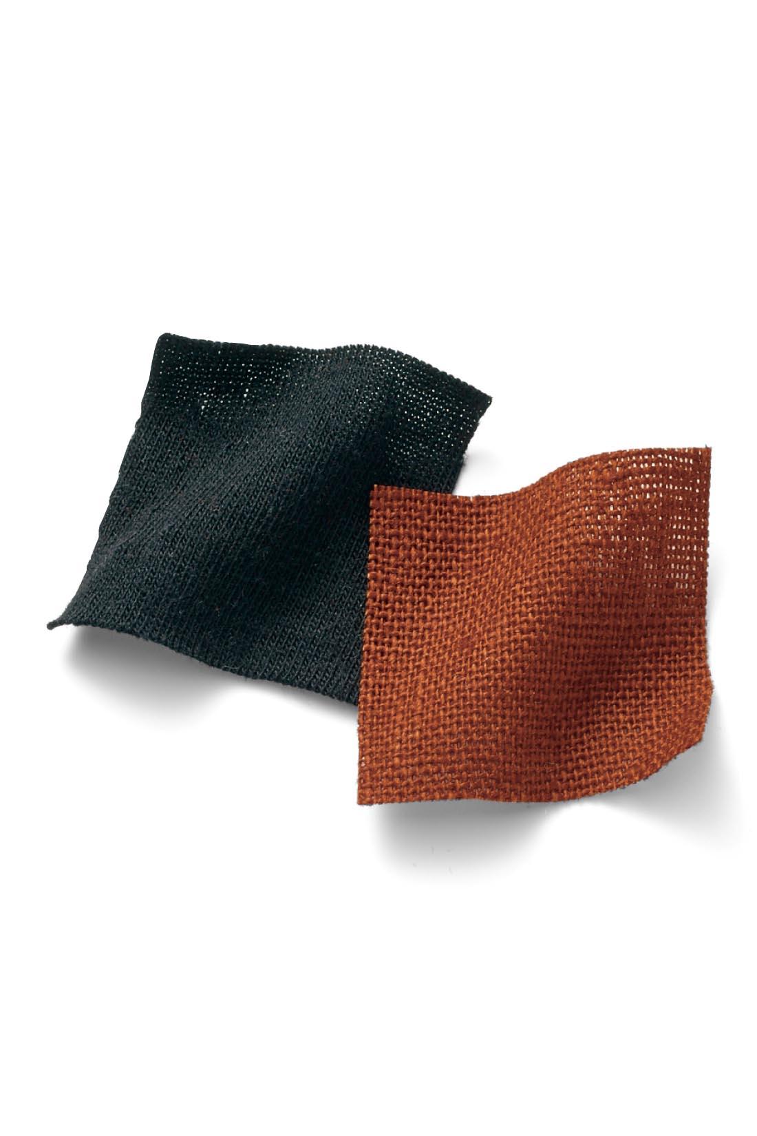 トップスは伸びやかでカジュアルな綿混のカットソー素材。パンツは、暑い日も涼やかに過ごせるやわらかな麻レーヨン素材。