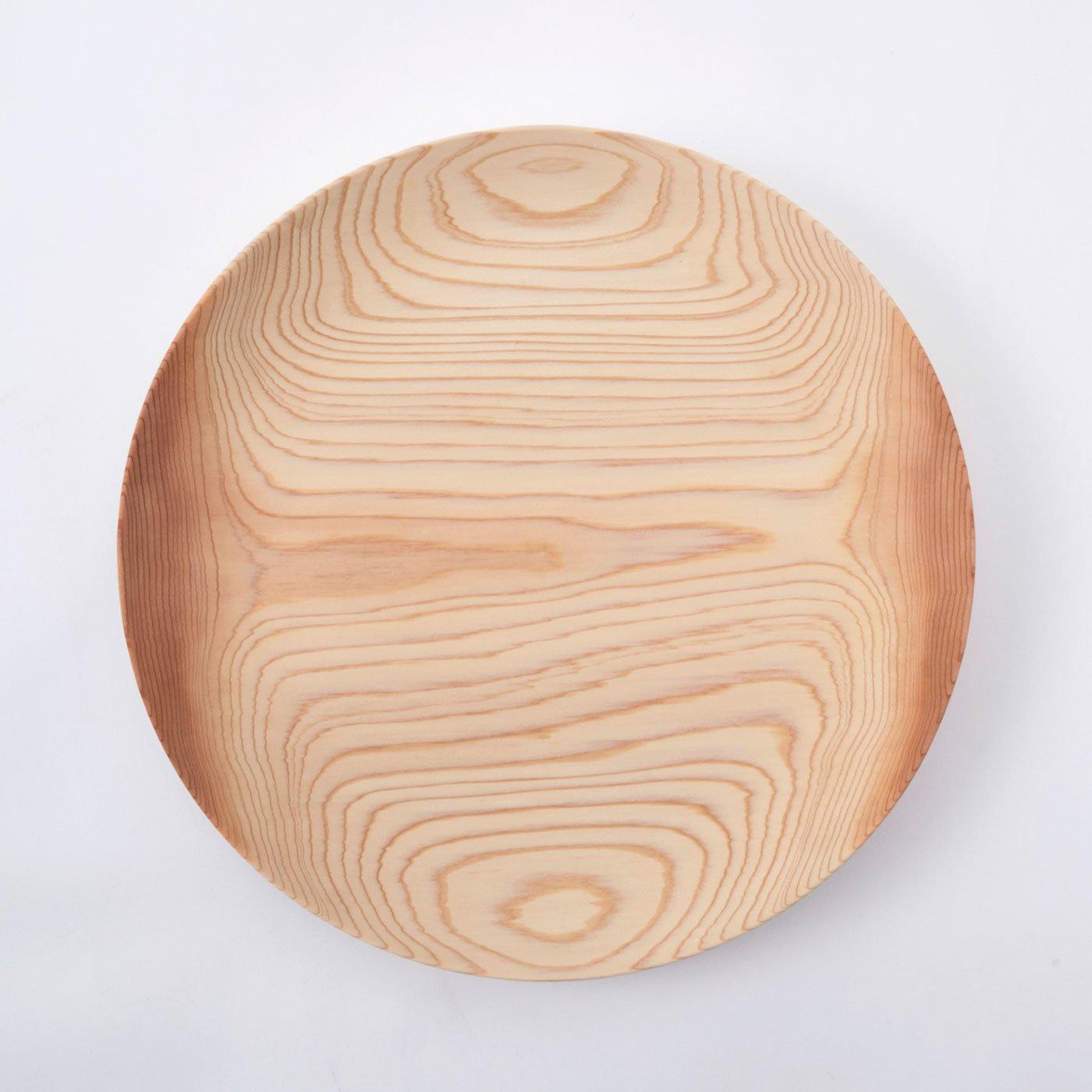 一生もの! ガラス塗装だから気軽に使えてうれしい 食をやさしく彩る秋田杉の大皿33cm