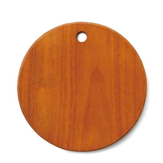食卓に朝食を運ぶまぁるいフォルムの木のトレイ。(ラバーウッド【ウレタンニス塗装】)直径25cm、厚さ約1.5cm。