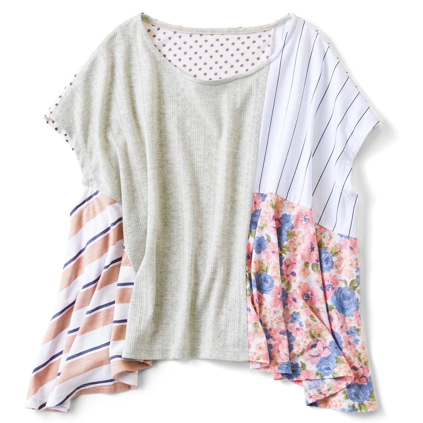 ひらりんパッチワークTシャツ〈ガーリー系〉