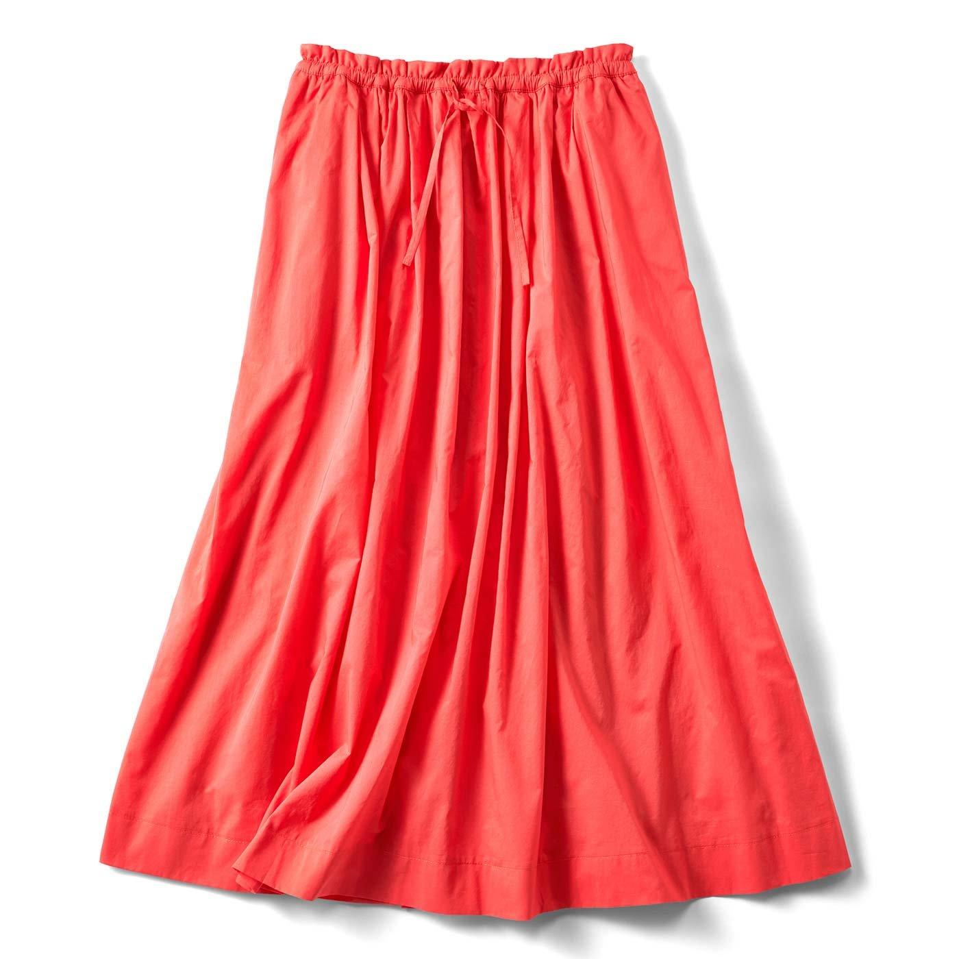 たっぷりボリュームのかろやかスカート〈オレンジ〉