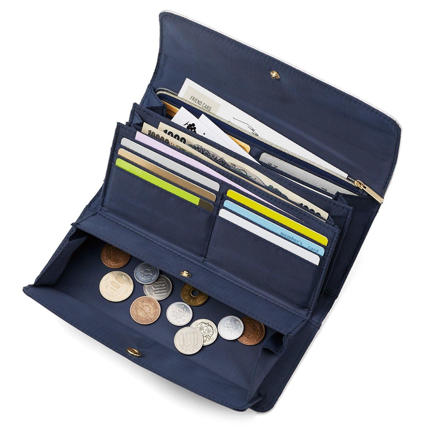 ラミプリュス 華やかシルバー大人の賢い7つ星 収納上手な本革長財布