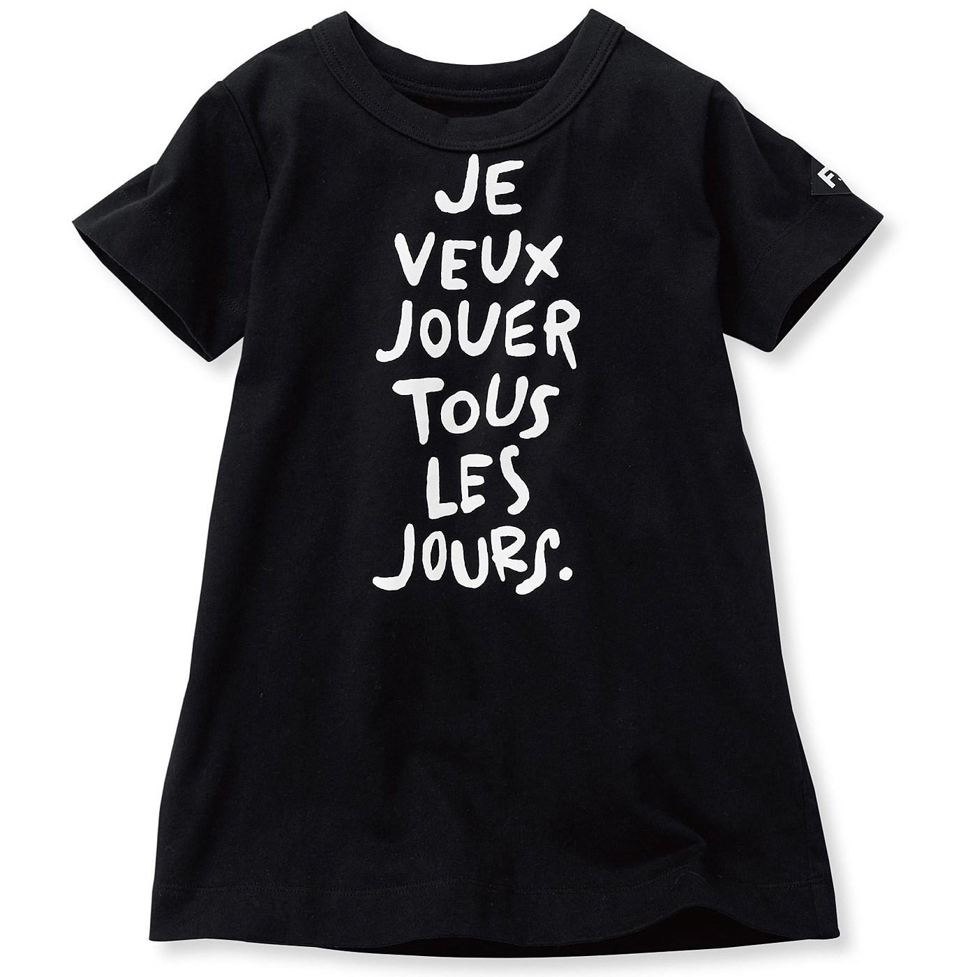 フェリシモ コットン素材のロゴがおしゃれな長め丈Tシャツ