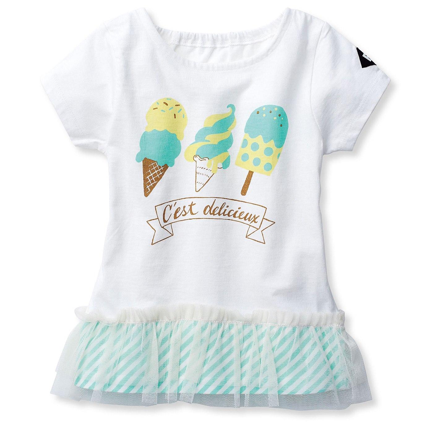 夏らしいアイスクリームやソフトクリームを、かわいくプリント。