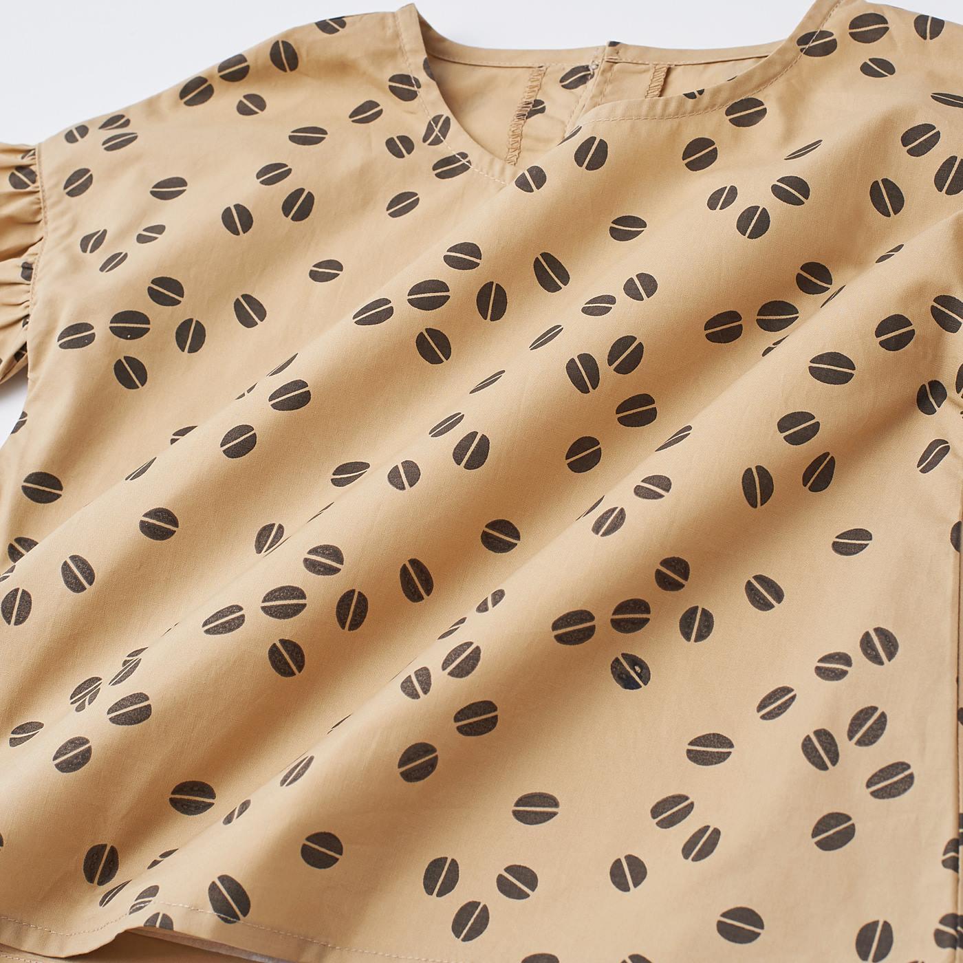 綿100%の布はく素材、カフェオレカラー×コーヒー豆プリントの組み合わせがかわいい。
