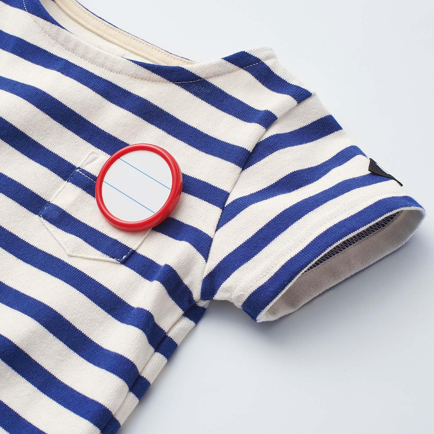 ポケットには、名札を通せる配色テープ付き。