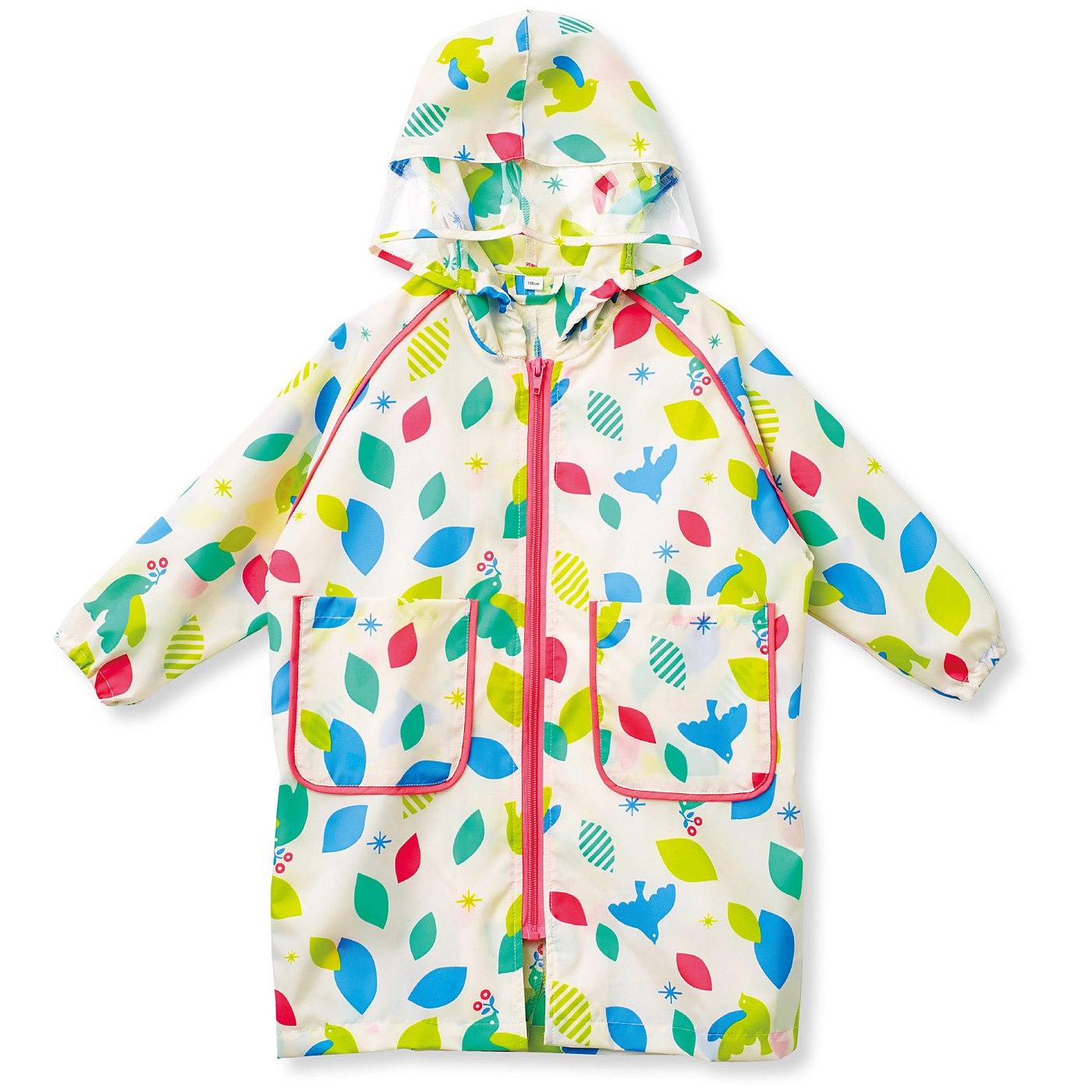 脱ぎ着が簡単なファスナー仕様。袖口はゴム入りで、雨が入ってくるのを防止。少し大きめサイズも、袖を折らずに着られます。