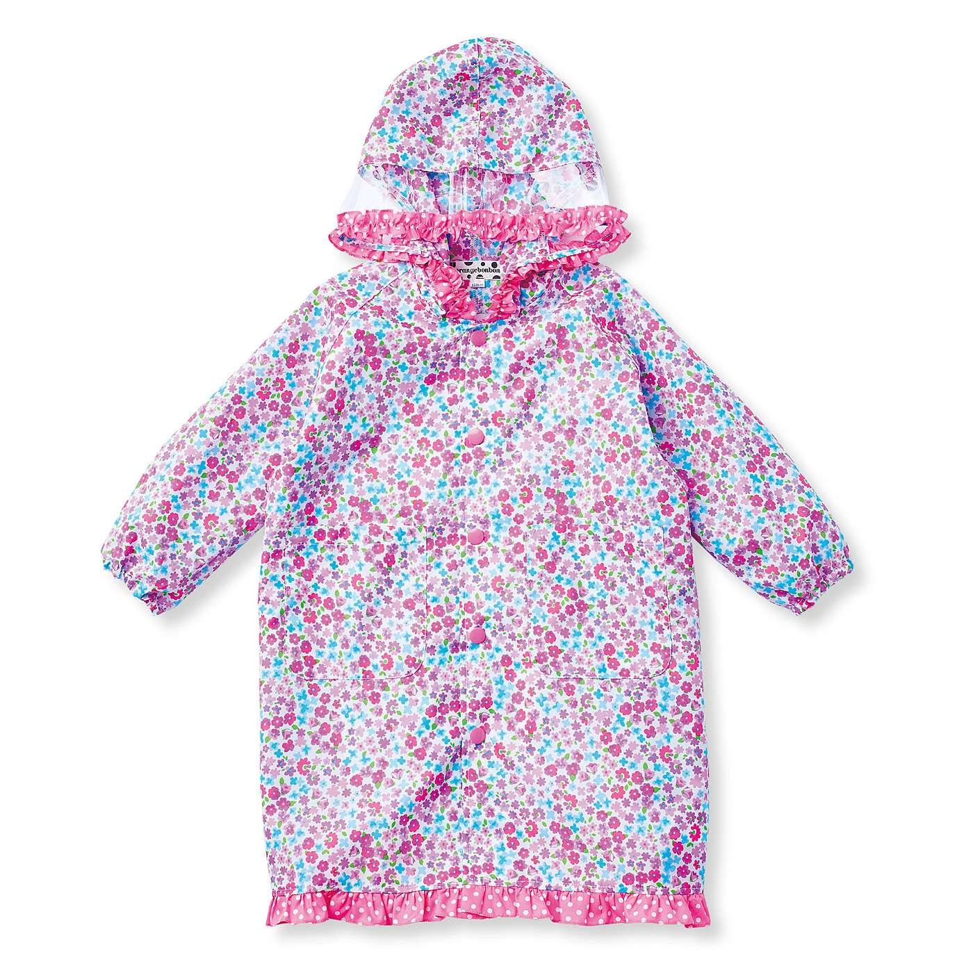 自分で開け閉めしやすいスナップボタン。袖口はゴム入りで、雨が入ってくるのを防止。少し大きめサイズも、袖を折らずに着られます。