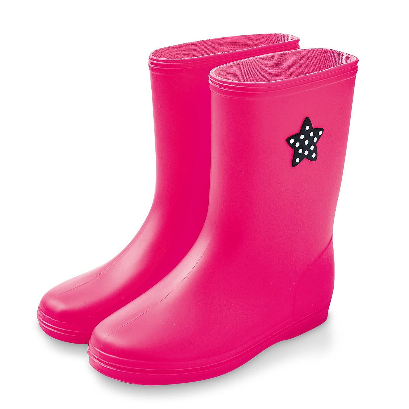 雨の日もスキップ キッズレインブーツ ピンク