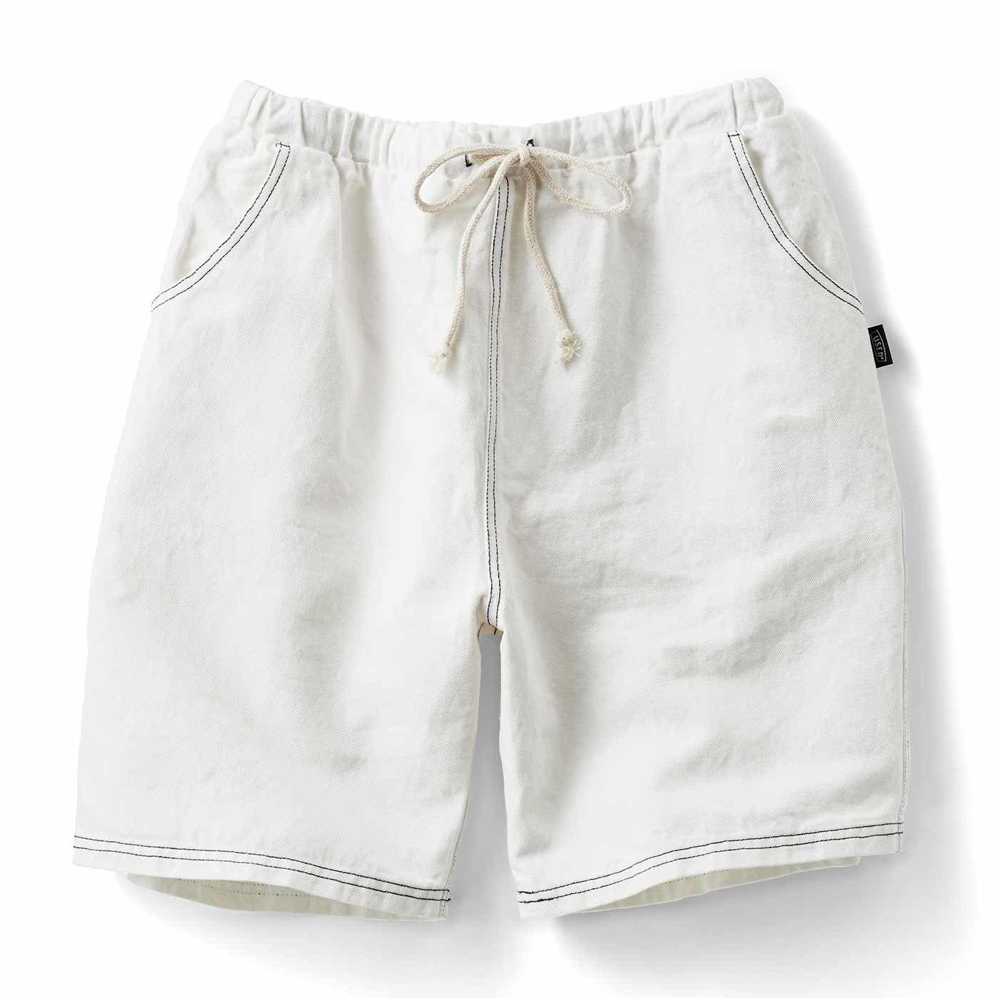 古着屋さんで見つけたような 綿麻デニムのショートパンツ〈ホワイト〉