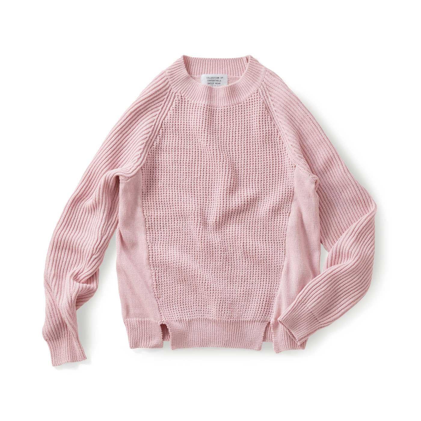 サニークラウズ 四種の編み地セーター〈レディース〉ピンク