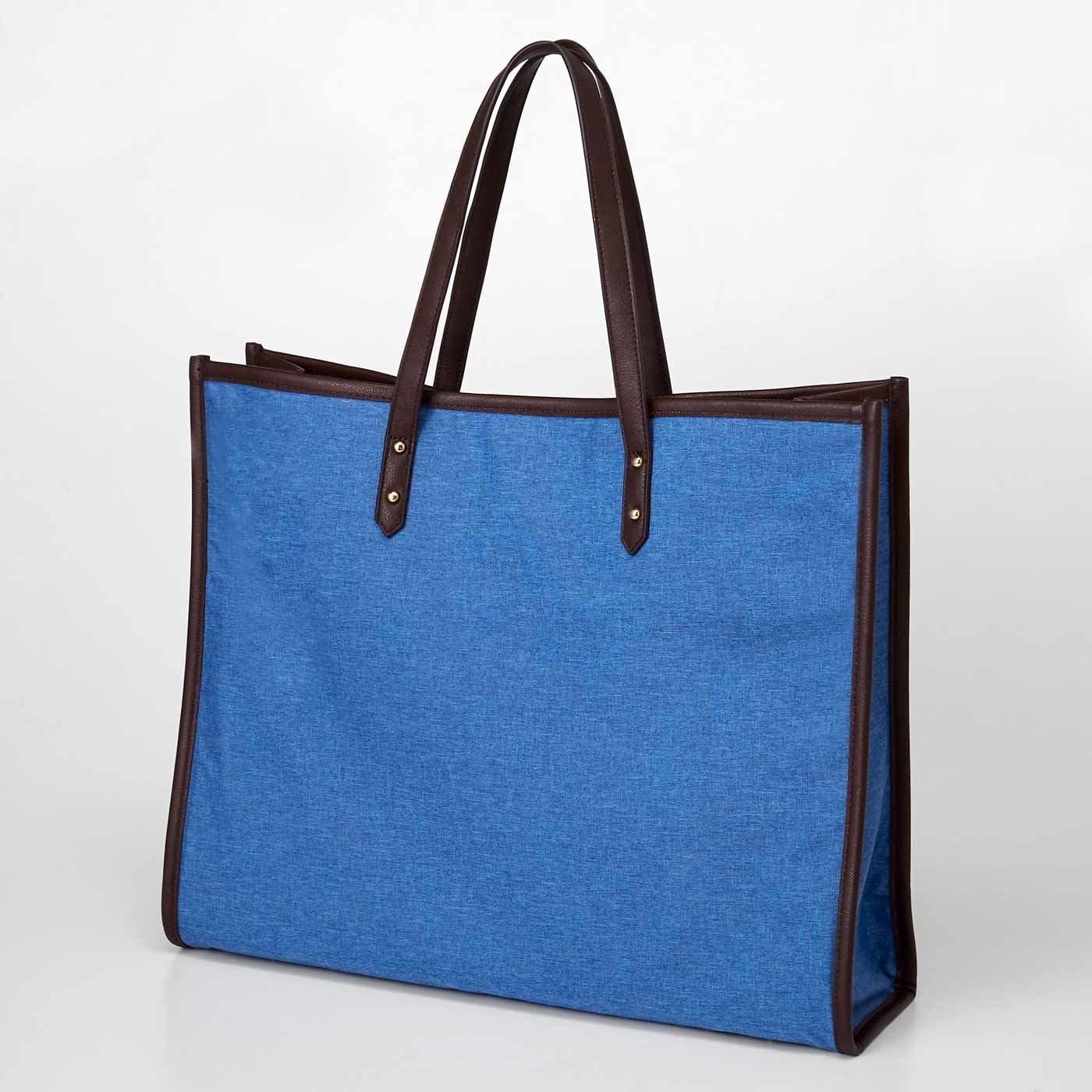 【3~10日でお届け】 OSYAIRO ジャンボうちわが入るパイピングトートバッグ〈ブルー〉