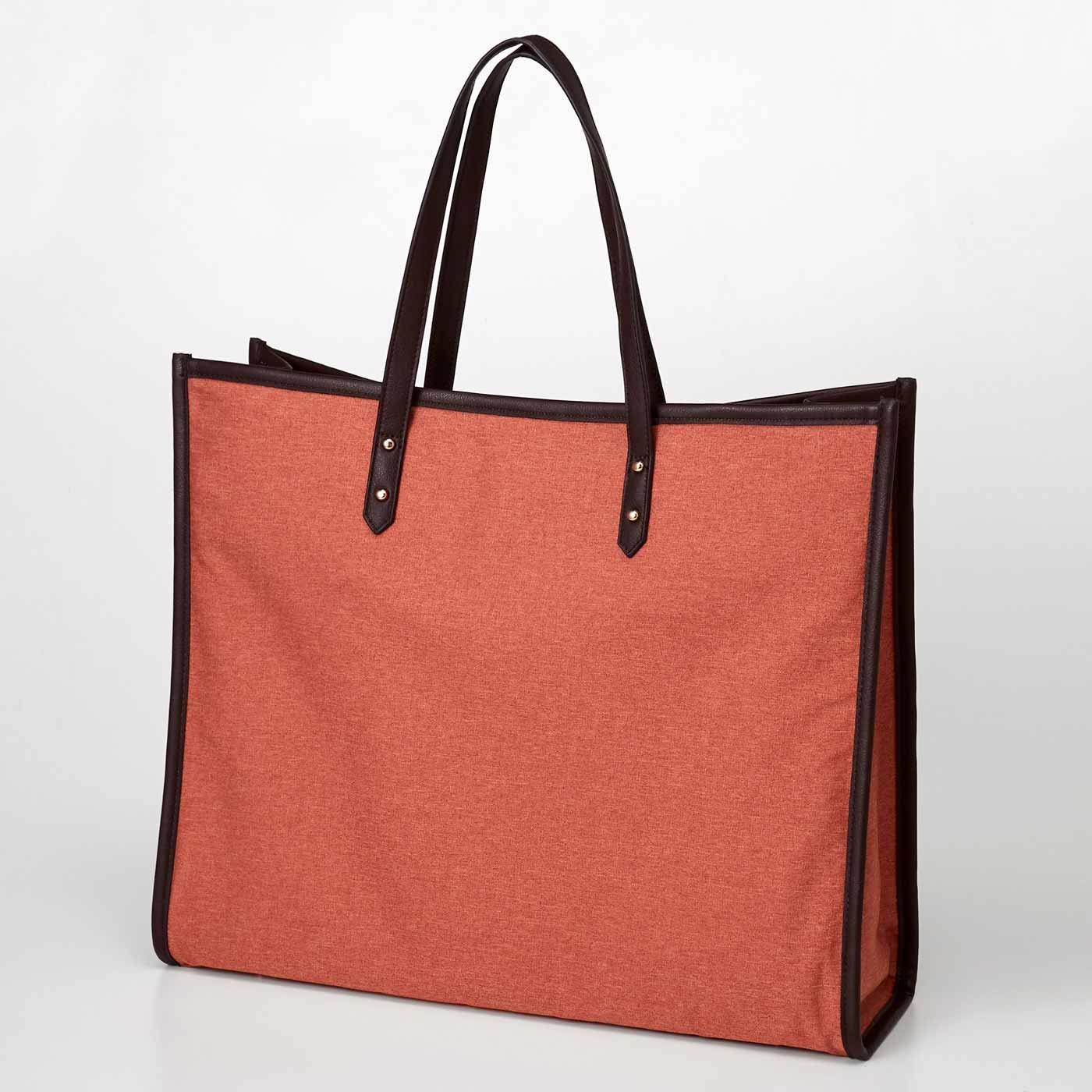 【3~10日でお届け】 OSYAIRO ジャンボうちわが入るパイピングトートバッグ〈オレンジ〉