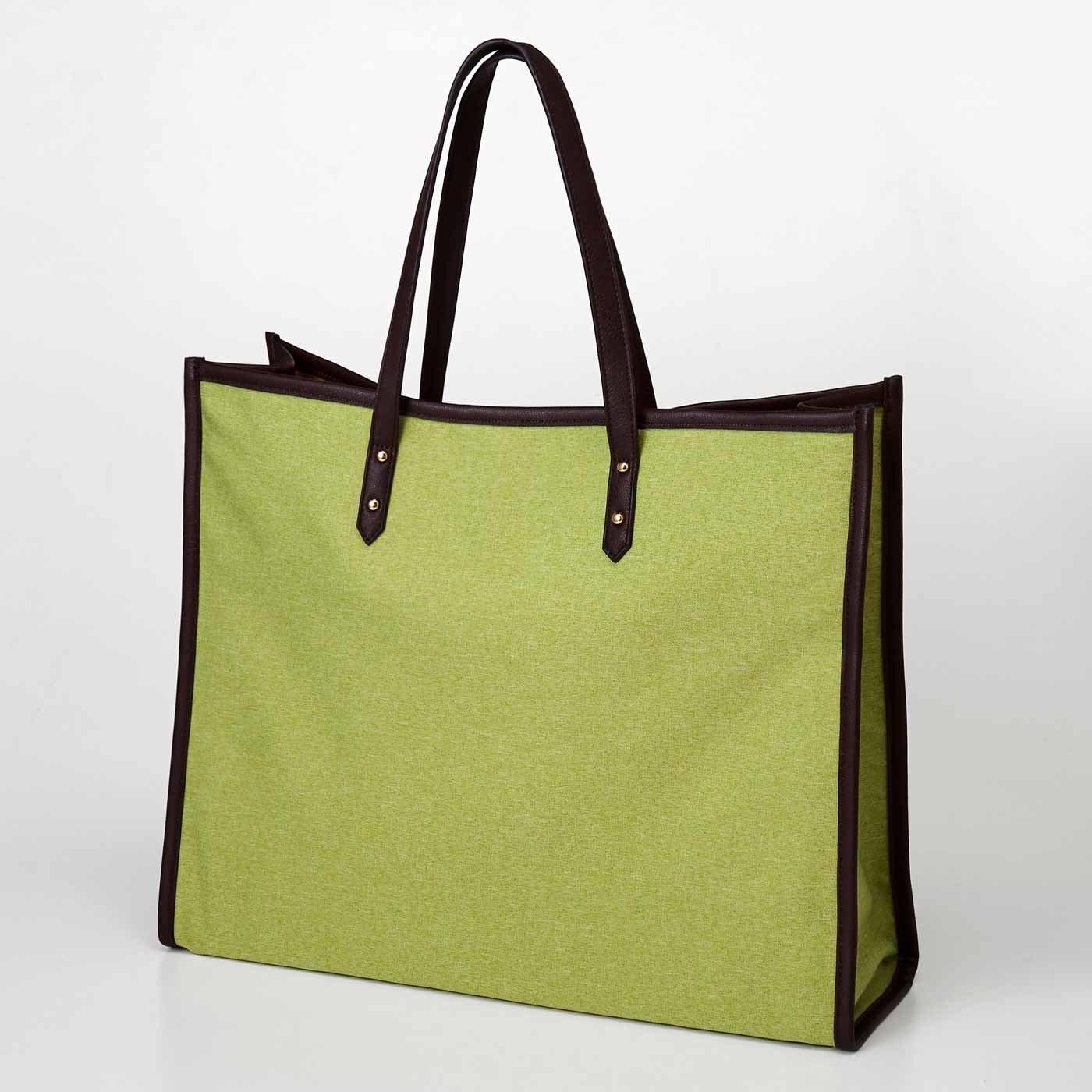 【3~10日でお届け】 OSYAIRO ジャンボうちわが入るパイピングトートバッグ〈グリーン〉
