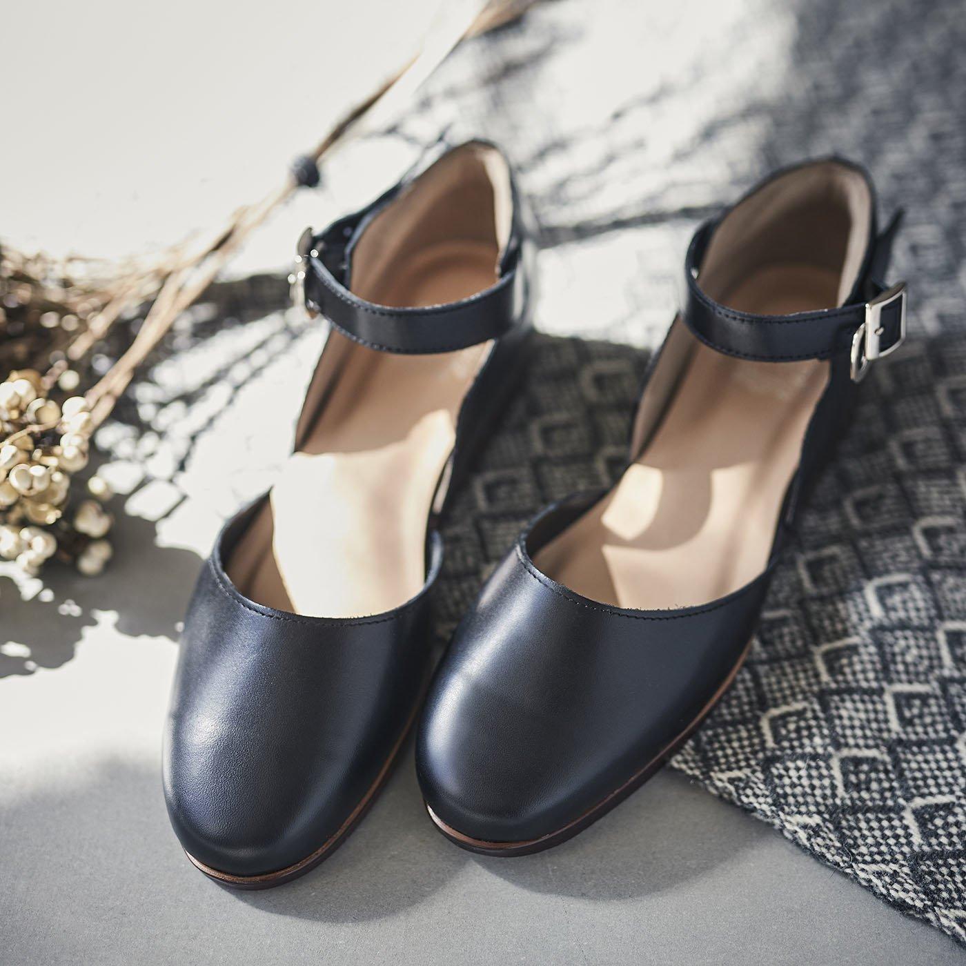 長田靴職人が叶えた 本革ストラップトウシューズ〈ブラックキャット〉[本革 靴:日本製]