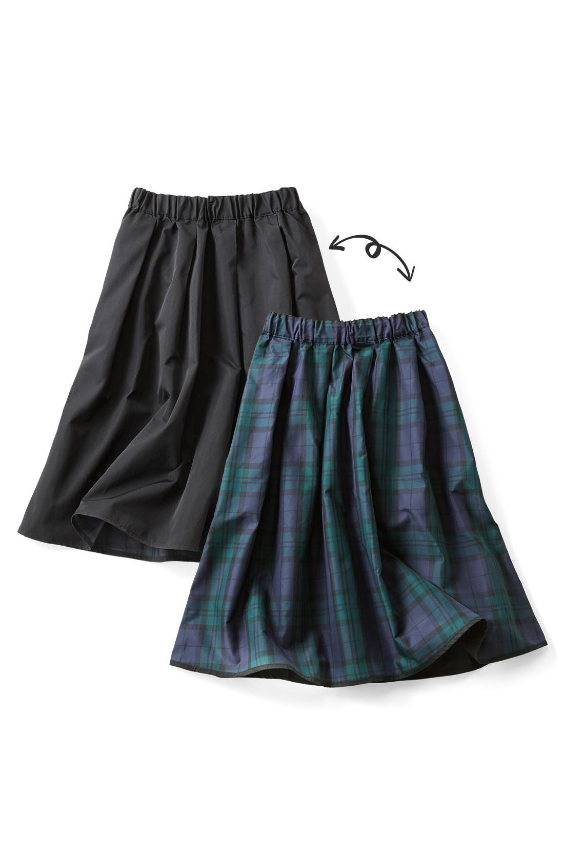 〈ブラック〉 着こなしの幅を広げる2-WAYスカートで印象を自由にスイッチ!