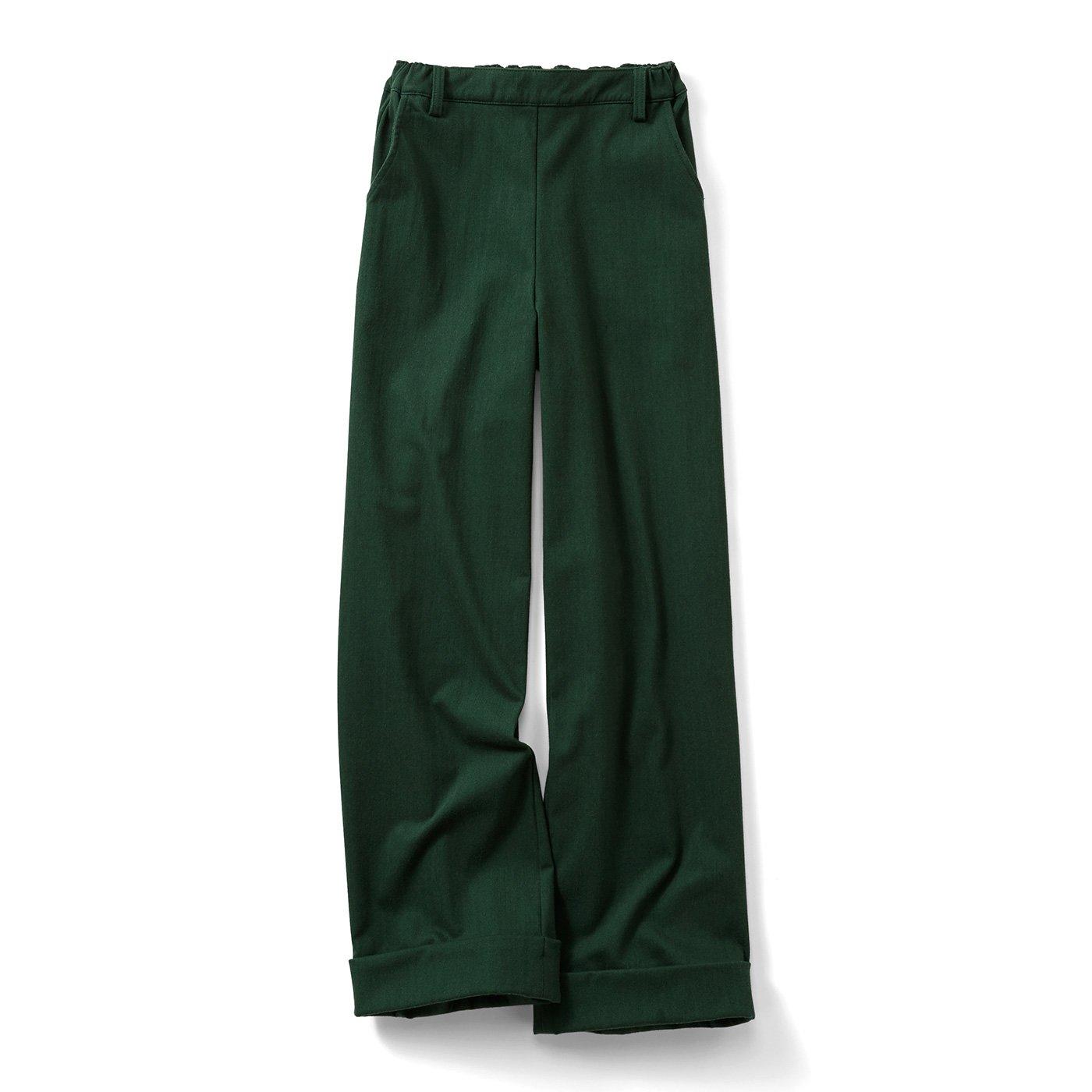 リブ イン コンフォート 厚手で伸びやかなはき心地 きれいめワイドプルオンパンツ〈グリーン〉
